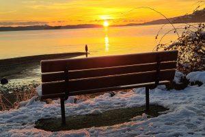 20201224 child sunrise bench snow
